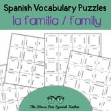 Spanish Family Vocabulary, Magic Squares Puzzle