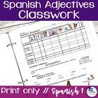 Spanish Adjectives Freebie