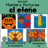 Spanish Autumn Mystery Pictures! Color By Number / Grid