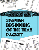 Spanish Beginning of the Year Packet