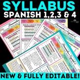 Back to School: Syllabus for Spanish 1, 2 & 3 - editable!