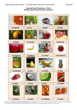 Spanish Food Vocabulary-Fruit