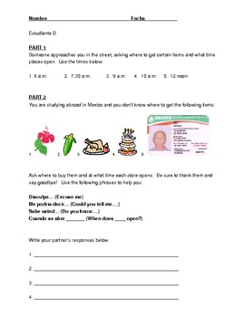 Spanish Partner Speaking Activity- Items/Stores/Time/ Pass