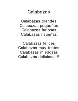 Spanish Poem about pumpkins!