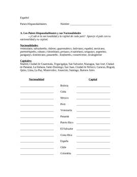 Spanish-Speaking Countries, Capitals and Nationalities Worksheet