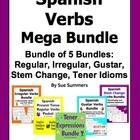 Spanish Verbs Mega Bundle of 5: Regular, Irregular, Stem,