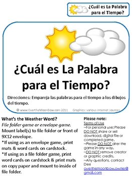 Spanish Weather Words Science File Folder Game