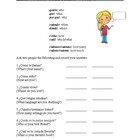 Spanish Worksheet - Question Word Practice