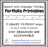 Speech-Language Therapy Printable Portfolio {Black and White}