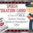 Speech Violation Cards: A Fun & FREE  Speech Therapy Behav