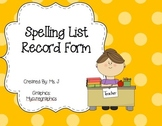 Spelling List Record Form