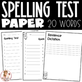 Spelling Test Paper (20 words)