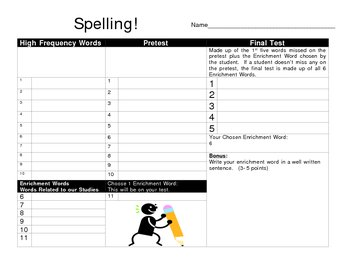 Spelling Test Template - Pretest, Study List, Test