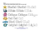 Spelling Worksheets - Ocean Animal Names