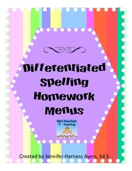 Spelling homework menus for each 9 weeks