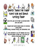 Sports Themed File Folder Word Wall and Bonus Writing Paper