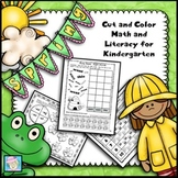 Spring Cut and Color Math and Literacy for Kindergarten