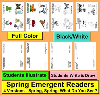 Spring Emergent Readers - 4 Versions