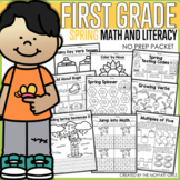 Spring Math and Literacy Packet NO PREP (1st Grade)