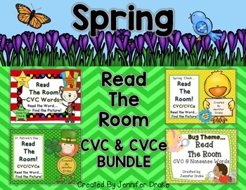 Spring Read The Room CVC and CVCe Words Bundle