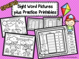 Spring Sight Word Pictures plus Practice Printables