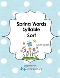 Spring Word Syllable Sort