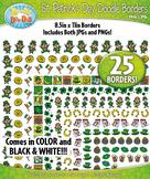 St. Patrick's Day Doodle Frame Borders Set  — Includes 25