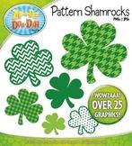 St. Patrick's Day Pattern Shamrocks Clipart — Over 25 Graphics!