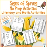 Signs of Spring No Prep Printables: Literacy and Math