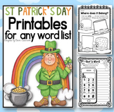 St. Patrick's Day Printables for any Word List