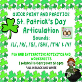 St. Patrick's Day Quick Print, No Prep, Practice Articulat