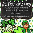 St. Patrick's Day Quick and Easy Printable Math Worksheets