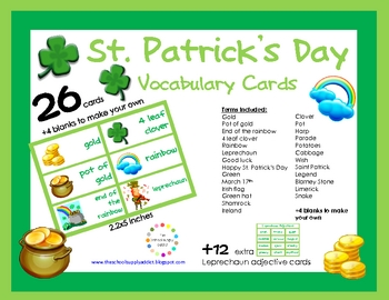 FREE St. Patrick's Day Vocabulary {26 Cards + 12 Leprechau