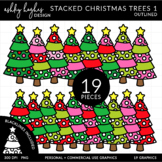 Stacked Stitched Christmas Trees 1 {Graphics for Commercial Use}
