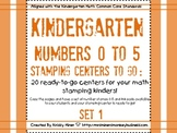 Stamping Math Centers Set 1 #s 0 to 5 -Ready to Go & Commo