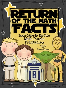 Star Wars~ Basic Color By The Code Math Puzzle Printables~Addition & Subtraction