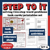 Step To It! solving two-step word problems task cards & pr