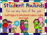Student Awards- Great for anytime of year