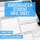 Student Information Sheet (Kindergarten)