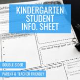 Student Information Sheet (Kindergarten)