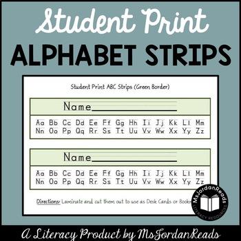 Student Print Alphabet Strips