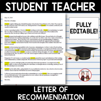 Student Teaching Teacher Final Letter of Recommendation Example