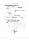 Study Sheets: Rules of Integers, Fractions, Decimals,and Percents