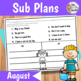 Sub Plans 1st Grade - July or August