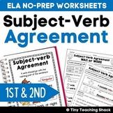 Subject-Verb Agreement Common Core Practice Sheets L.1.1.C