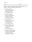 Subject-Verb agreement pre/post assessment ITBS style