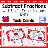 Subtract Fractions with Unlike Denominators Task Cards
