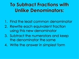 Subtracting Unlike Fractions PowerPoint by Kelly Katz