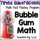 "Subtraction Math Facts Timed Tests-""Bubble Gum Math"""