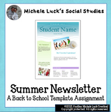 Summer Newsletter Template Assignment for Back to School
